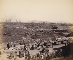 General view of works, [from] upper window [of] office, looking towards N.E. [Victoria Dock construction, Bombay].